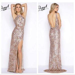 NWT Mac Duggal Sequin Halter Gown 3434A